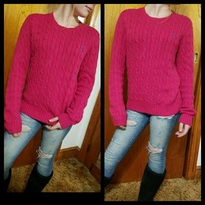 Dark pink cable knitted Ralph  Lauren  sweater