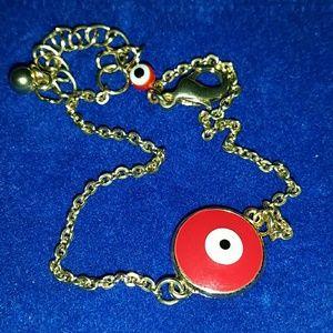 Red evil eye gold chain protection bracelet