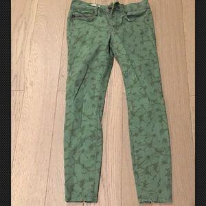 Gap Green Floral Legging Jean Size 24 Petite