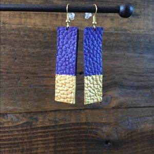 Blue/Gold leather earrings