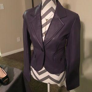 Gorgeous Purple Leather Jacket Blazer Petite PL