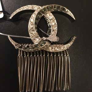 Silver hair accessory with rhinestones