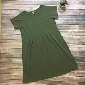 J. Jill Olive Pleated Front Dress