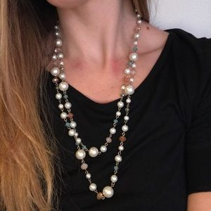 Layered Pearl and Blue/Pink Jeweled Necklace