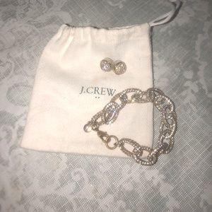 J.crew fireball earrings & paved gold bracelet