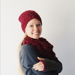 Beanie, infinity scarf, and fingerless gloves set