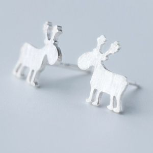 925 Sterling Silver Christmas Reindeers Earrings