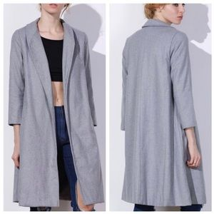Zaful Shawl Neck Gray Wool Long Coat.