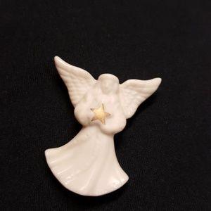 Vintage Signed Lenox Porcelain Angel Brooch