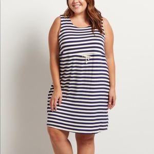 Plus Size Maternity Dress Navy Striped Cinched 3X