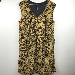 Lane Bryant mustard/khaki black bold printed dress