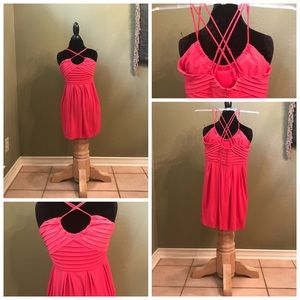 Snug coral party dress