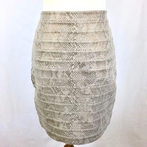 Express Taupe Bronze Snakeskin Bandage Skirt B-Con