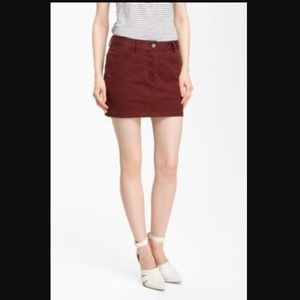 T by Alexander Wang Maroon Mini twill skirt.