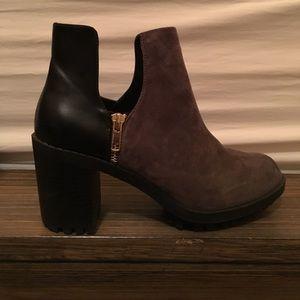 Zara cutout grey suede black cutout ankle booties