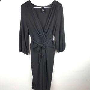 Bisou Bisou black faux wrap sexy bodycon dress