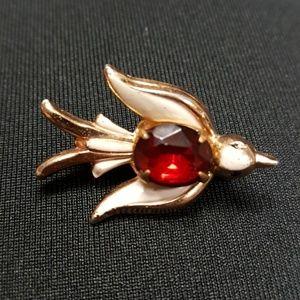 Vntg1950's Coro Red Rhinestone Dove Brooch