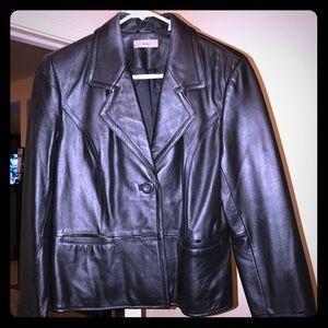 INC Black leather jacket