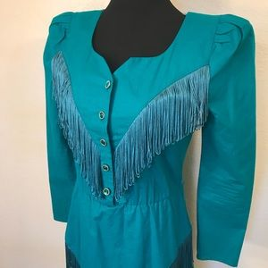 Vintage Dresses - Vintage cowgirl dress with fringe