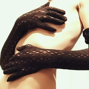 Vintage Brown Extra Long Lace Gloves