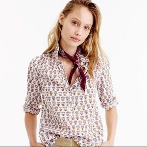 J. Crew Gathered Popover Shirt in Floral Print