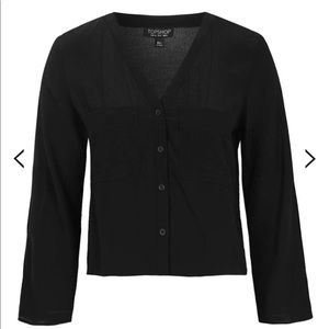 TOPSHOP Split Sleeve Crop Shirt