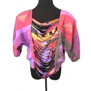 Gorgeous vintage abstract Print top blouse