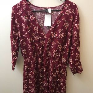 Wine Floral Print Surplice Dress