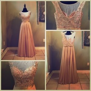 Nude lace and rhinestone gown