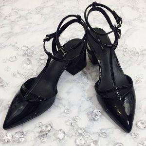 Zara Basic Patent Leather Strappy Chunky Heels