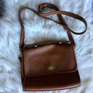 Vintage Leather Coach Crossbody Flap Bag