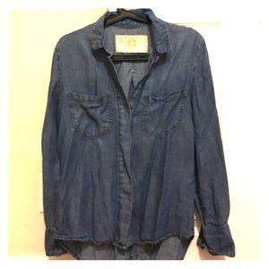 Denim Button Up with Split Tail in Back