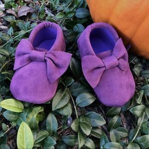 Other - New! Purple Suede Bow Moccasins 6-12 Months