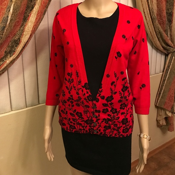 60% off Cathy Daniels Sweaters - Pretty red and black sweater size ...