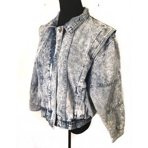 Vintage acid washed Denim Jean bomber jacket