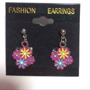 3/$15 Multi Color Flower Earring Pierce Handmade