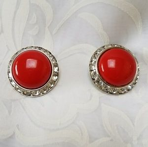 VTG Coro Clip Earrings, Red with Rhinestones