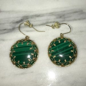 Malachite and 14K Gold earrings