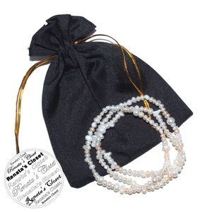 3pc Stretchable Freshwater Cultured Pearl Bracelet