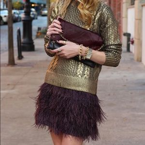 Club Monaco ostrich feather skirt.
