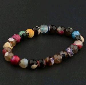 Multicolred Natural stone beaded charm bracelet🎀