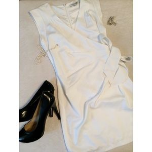 Forever 21 sz S white faux wrap dress EUC