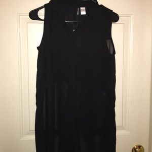 Black sheer long tunic