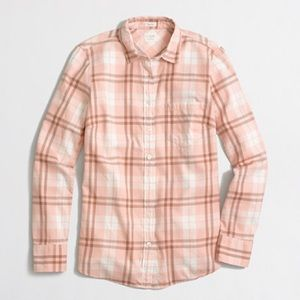 J. Crew Perfect Fit Pink Plaid Button Down