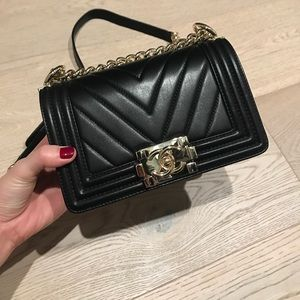 Chanel Chevron Mini Boy Bag Gold Hardware