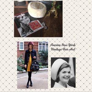 Amrose New York Vintage Pill Box Fur Hat