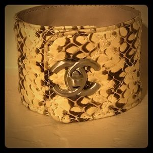CHANEL Quilted Python Snake Leather Cuff Bracelet