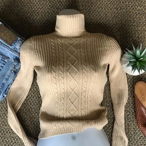 cable knit tan tight stretchy sweater