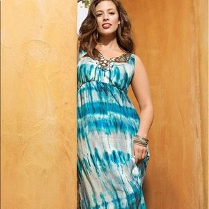 Lane Bryant blue tie dye embellished maxi dress