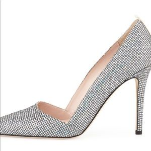 Rampling Glitter Pointed-Toe Pump, Silver sz 35.5